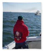 Fishing In Rough Seas Fleece Blanket