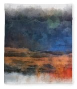 Fishing In The Fog Photo Art Fleece Blanket