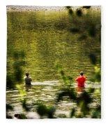Fishing In The Pond Fleece Blanket