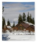 Fishing Lodge In The Winter Fleece Blanket