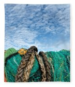 Fishing Nets And Alto-cumulus Clouds Fleece Blanket