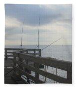Fishing Off Rodanthe Pier Fleece Blanket