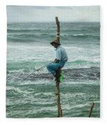 Fishing On A Pole Fleece Blanket