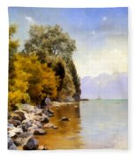 Fishing On Lac Leman Fleece Blanket