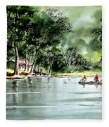 Fishing On Lazy Days - Aucilla River Florida Fleece Blanket