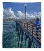Fishing On Oceanside Pier Fleece Blanket