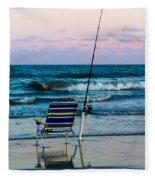 Fishing On The Beach Fleece Blanket