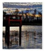 Fishing Pier Sunset  Fleece Blanket