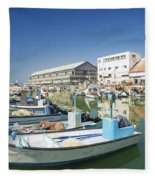 Fishing Port In Jaffa Tel Aviv Israel Fleece Blanket