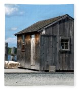 Fishing Shack On The Mystic River Fleece Blanket