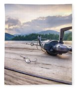 Fishing Tackle On A Wooden Float With Mountain Background In Nc Fleece Blanket
