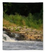 Fishing The Spillway Fleece Blanket