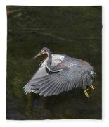 Fishing Tri Colored Heron Fleece Blanket