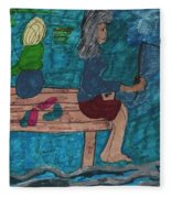 Fishing Under The Evening Sky On A Cool Autumn Night Fleece Blanket