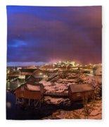 Fishing Village At Night, Lofoten Fleece Blanket