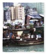 Fishing Village Digital Painting Fleece Blanket