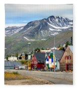 Fishing Village In Iceland Fleece Blanket
