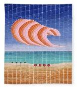 Five Beach Umbrellas Fleece Blanket