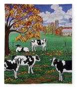 Five Black And White Cows Fleece Blanket