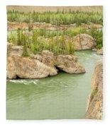 Five Finger Rapids Rocks Yukon River Yt Canada Fleece Blanket