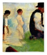 Five Male Figures Possible Preparatory Sketch For The ''bathers At Asnieres.'' Fleece Blanket