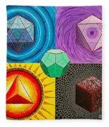 Five Platonic Solids - Fire Fleece Blanket