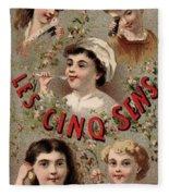 Five Senses Represented By Five Children C1900 Fleece Blanket