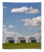 Five Sheds On The Alberta Prairie Fleece Blanket