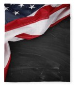 Flag On Blackboard Fleece Blanket