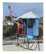 Flag Waving Lifeguard Fleece Blanket