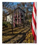Flags And Covered Bridge Fleece Blanket