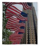 Flags At Rokefeller Plaza Fleece Blanket