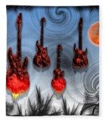 Flaming Guitars Fleece Blanket