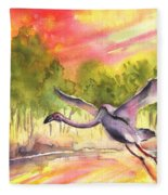 Flamingo In Alcazar De San Juan Fleece Blanket