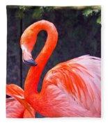 Flamingo In The Wild Fleece Blanket