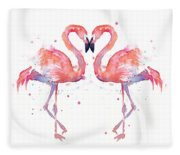 Flamingo Love Watercolor Fleece Blanket
