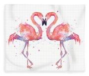 Flamingo Love Watercolor Fleece Blanket