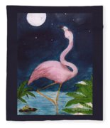 Flamingo Moon Frog Cathy Peek Tropical Bird Fleece Blanket