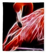 Flamingo Portrait Fractal Fleece Blanket