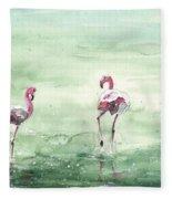 Flamingos In Camargue 02 Fleece Blanket
