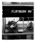 Blues Guitarist Heading To Flatbush  Fleece Blanket