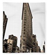 Flat Iron Building In Sepia Fleece Blanket