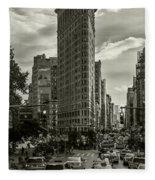 Flatiron Building - Black And White Fleece Blanket