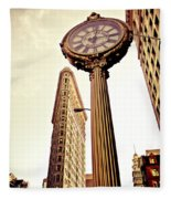 Flatiron Building And 5th Avenue Clock Fleece Blanket