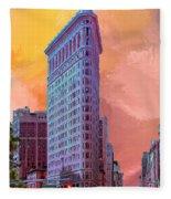 Flatiron Building At Sunset Fleece Blanket