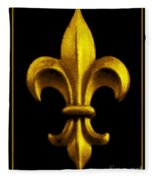 Fleur De Lis In Black And Gold Fleece Blanket