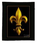 Fleur De Lis In Black And Gold Fleece Blanket