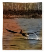 Flight Of The Pelican-featured In Wildlife-newbies And Comfortable Art Groups Fleece Blanket