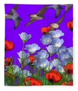 Flight Over Poppies Fleece Blanket