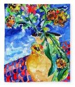 Flip Of Flowers Fleece Blanket